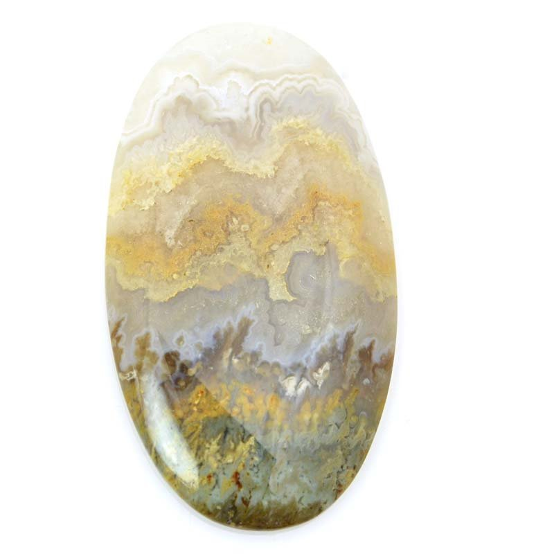 s63204 OOAK Stone Cabochon - 31x56mm Oval - Prudent Man Plume Agate