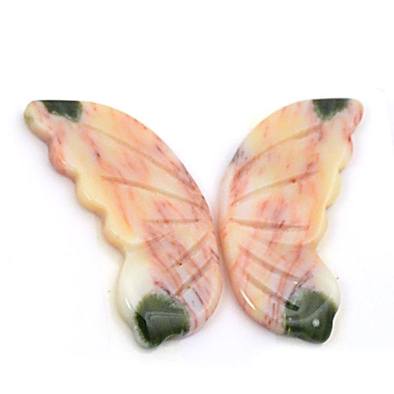 s63244 OOAK Stone Cabochon - 50mm Butterfly Wings - Ocean Jasper (Set)