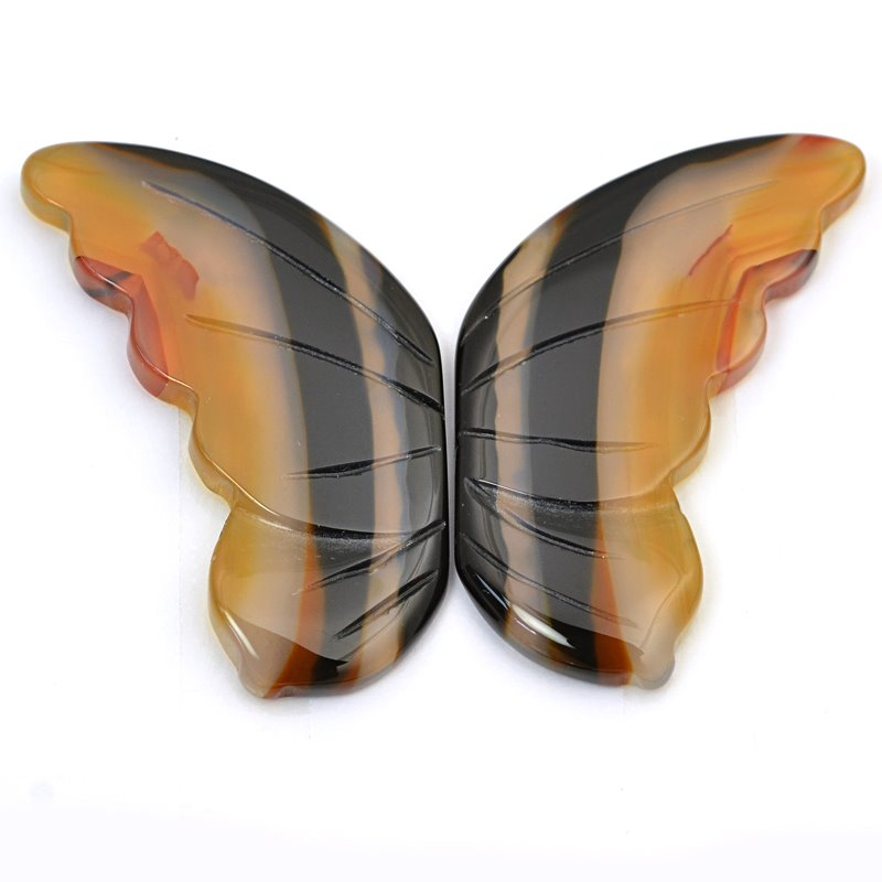 s63249 OOAK Stone Cabochon - 50mm Butterfly Wings - Banded Agate (Set)