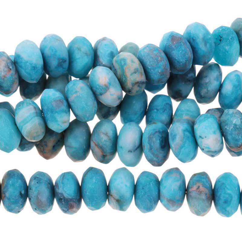 s63270 Stone Beads - 8mm Faceted Rondelles - Matte Sky Blue Crazy Lace Agate (strand)