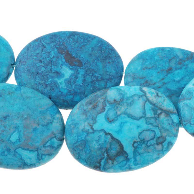 s63273 Stone Beads - 30x40mm Oval - Matte Sky Blue Crazy Lace Agate