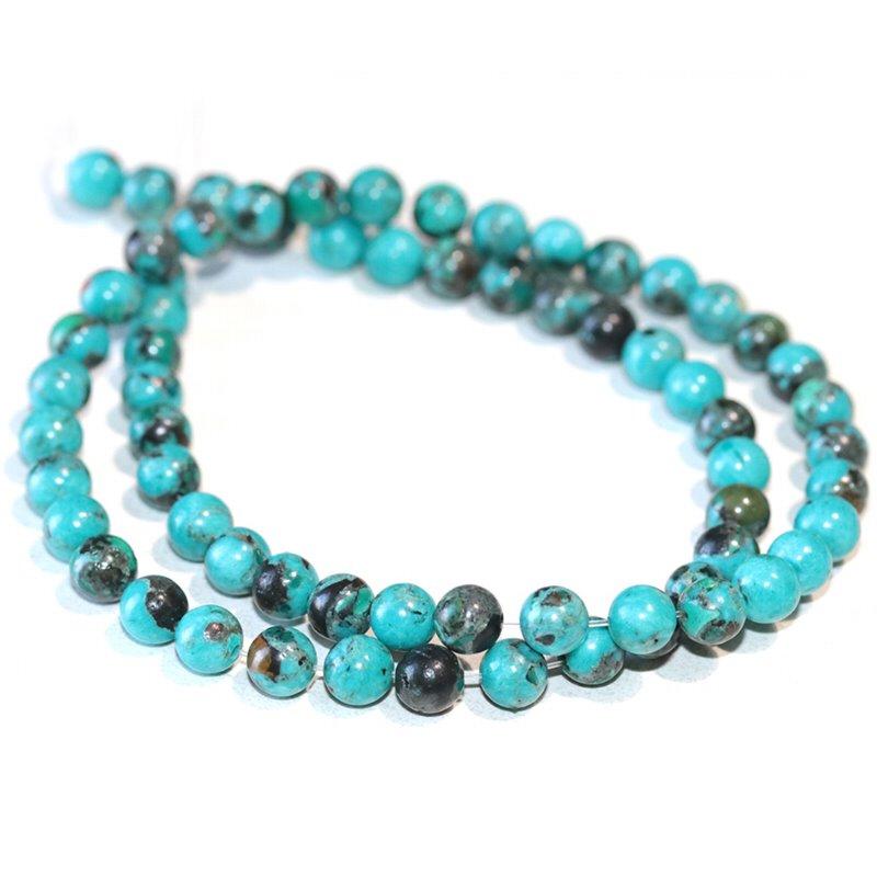 s63276 Stone Beads - 6mm Round - Hubei Turquoise (strand)