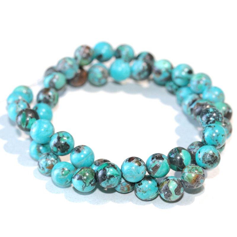 s63277 Stone Beads - 8mm Round - Hubei Turquoise (strand)