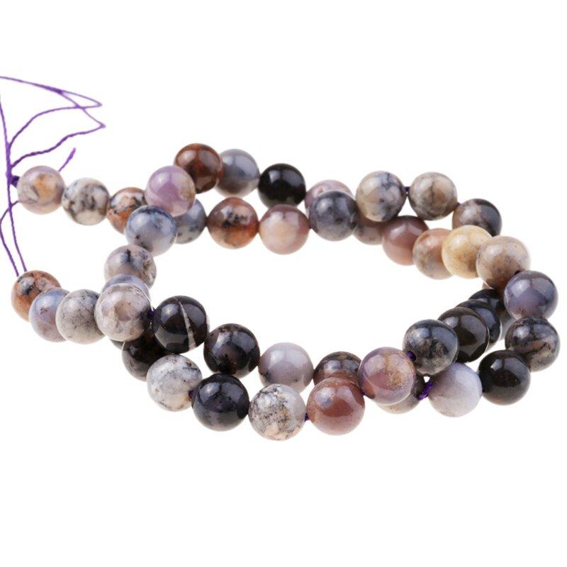 s63278 Stone Beads - 8mm Round - Sage Agate (strand)