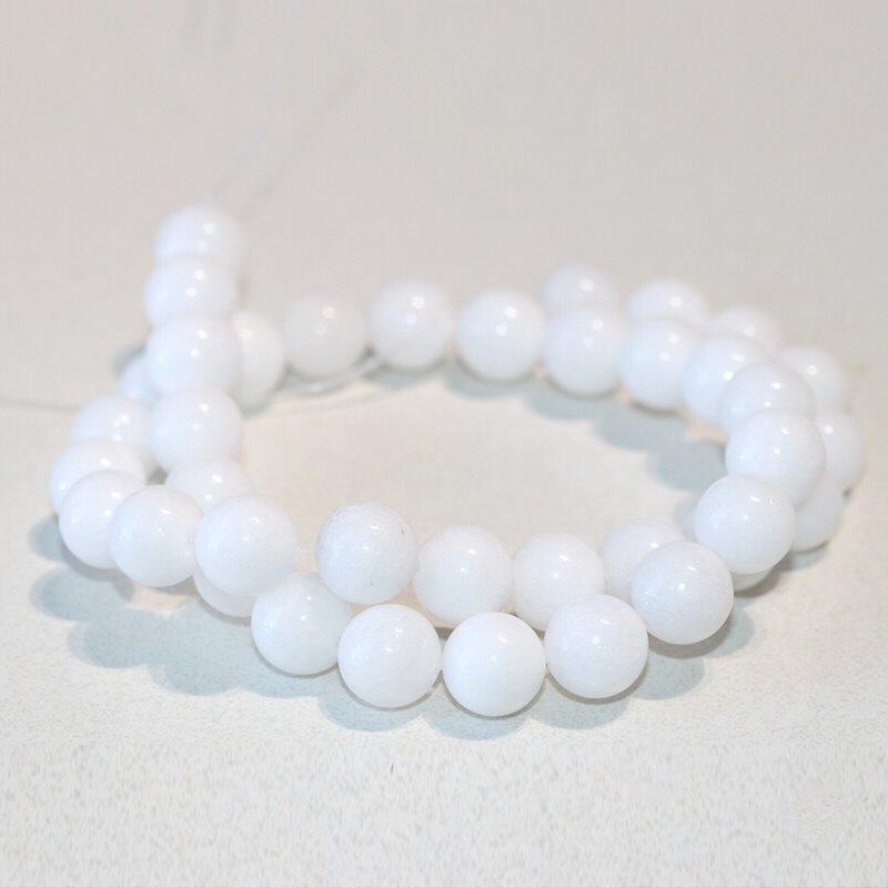 s63280 Stone Beads - 10mm Round - White Jade (strand)