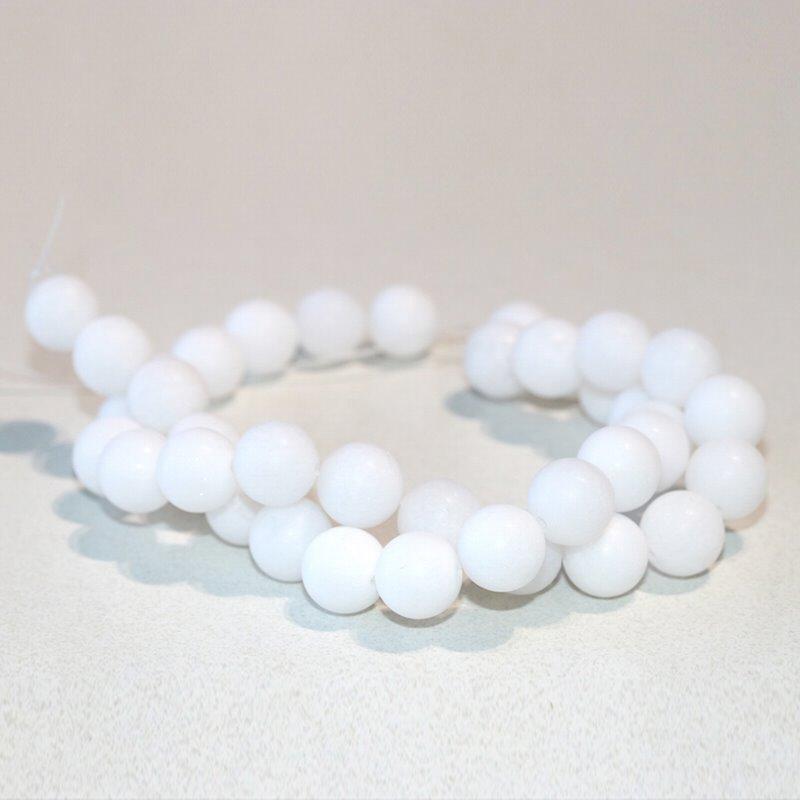 s63284 Stone Beads - 10mm Round - Matte White Jade (strand)