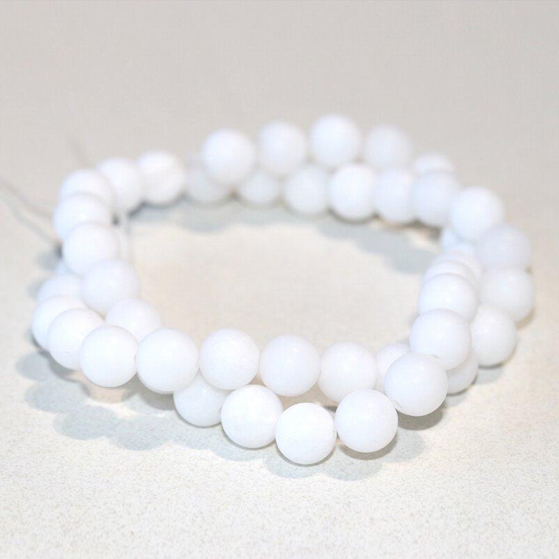 s63285 Stone Beads - 8mm Round - Matte White Jade (strand)