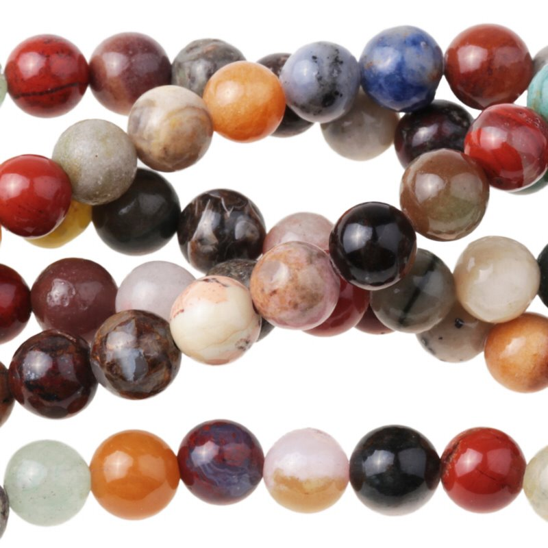 s63290 Stone Beads - 6mm Round - Mixed Stone (strand)