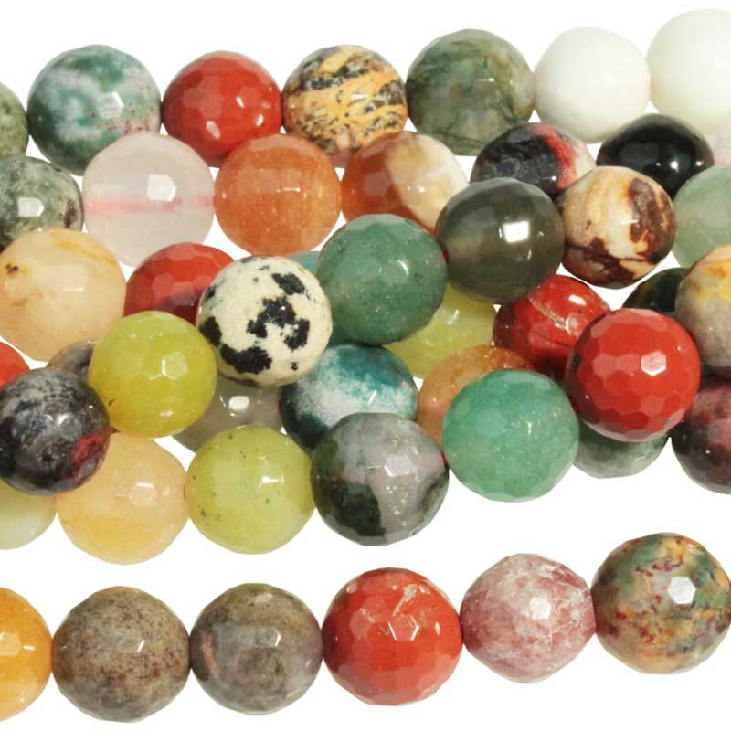 s63293 Stone Beads - 8mm Faceted Round - Mixed Stone (strand)