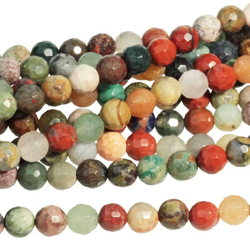 s63294 Stone Beads - 6mm Faceted Round - Mixed Stone (strand)