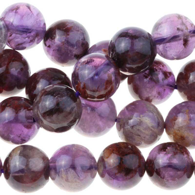 s63299 Stone Beads - 12mm Round - Cacoxenite (strand)