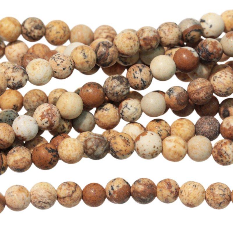 s63308 Stone Beads - 4mm Round - Matte Picture Jasper (strand)