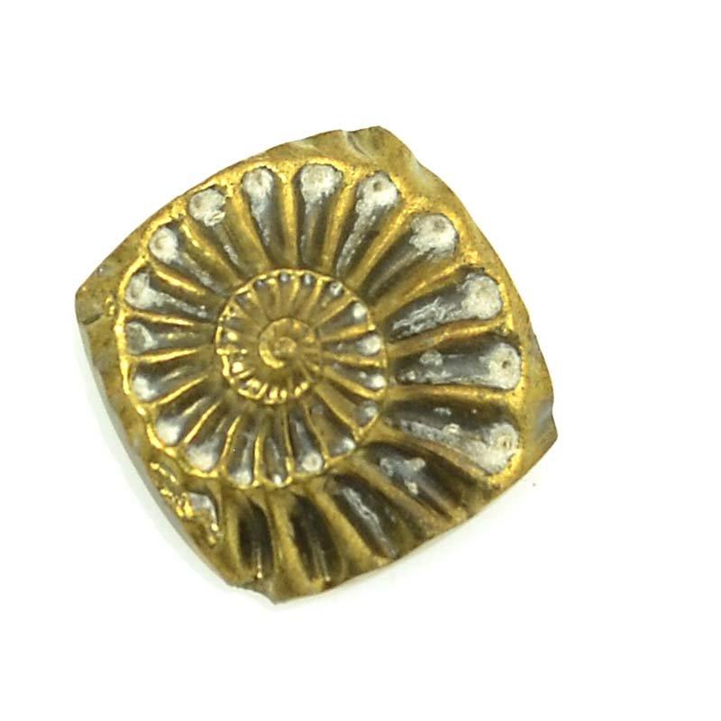 s63374 OOAK Stone Cabochon - 12mm Square - Pyritized Ammonite Negative