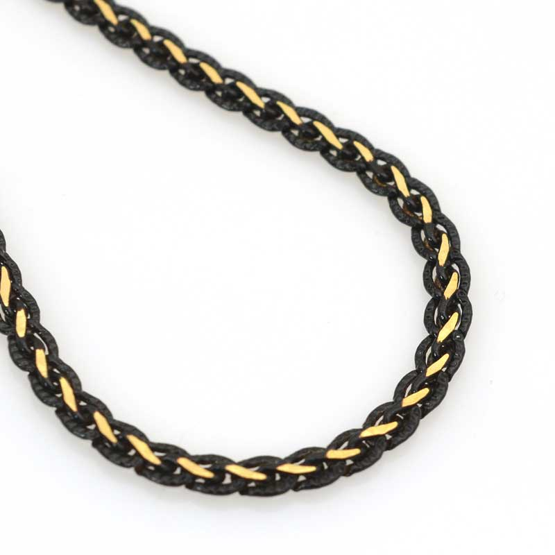 s63526 Chain - 4mm Flat Two-Tone - Black - Bright Gold Plated (foot)