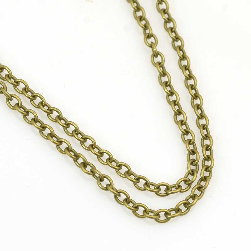 s63532 Chain - 2.5mm Round Wire Cable Chain - Antiqued Brass (foot)