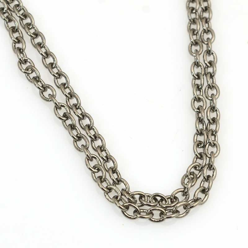 s63534 Chain - 2.5mm Round Wire Cable Chain - Gunmetal (foot)