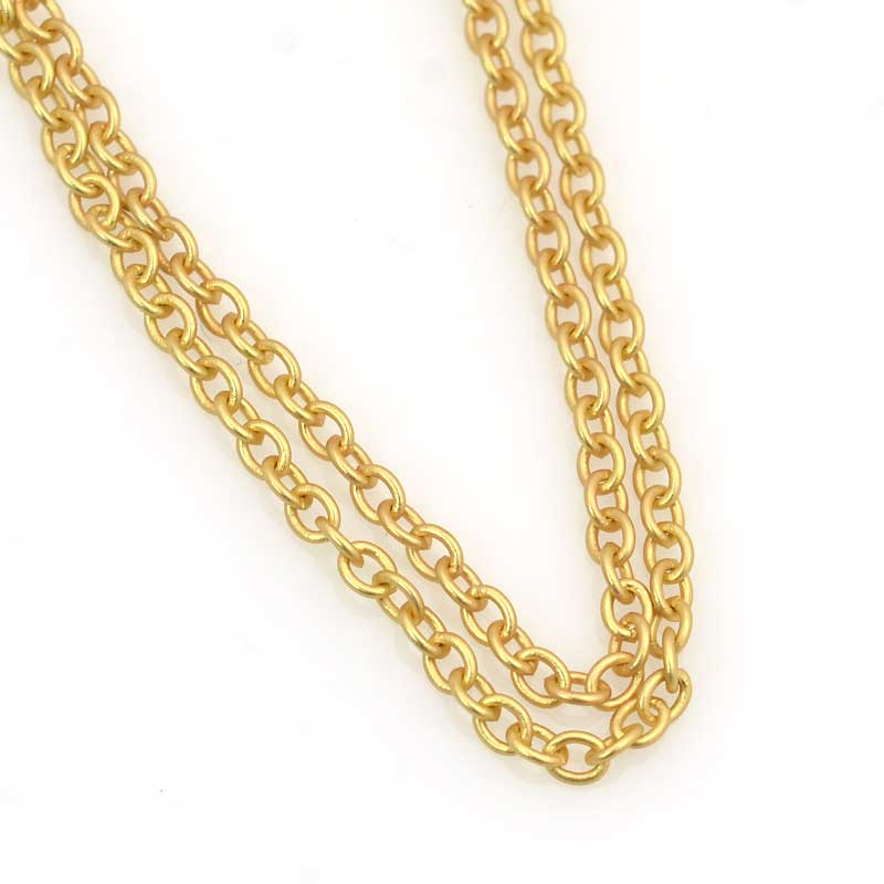 s63536 Chain - 2.5mm Round Wire Cable Chain - Satin Hamilton Gold (foot)
