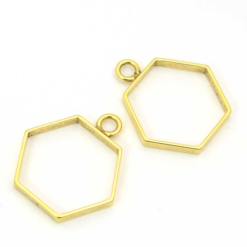 s63553 Open Bezel / Frame - Small Hexagon Pendant - Bright Gold Plated