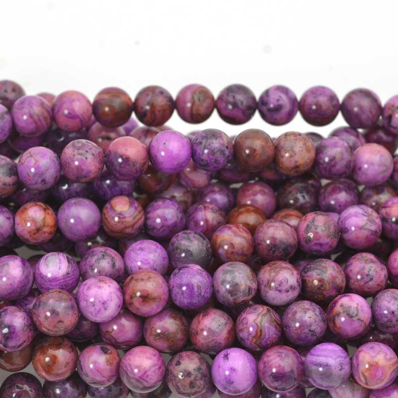 s63620 Stone Beads - 8mm Round - Purple Crazy Lace (strand)