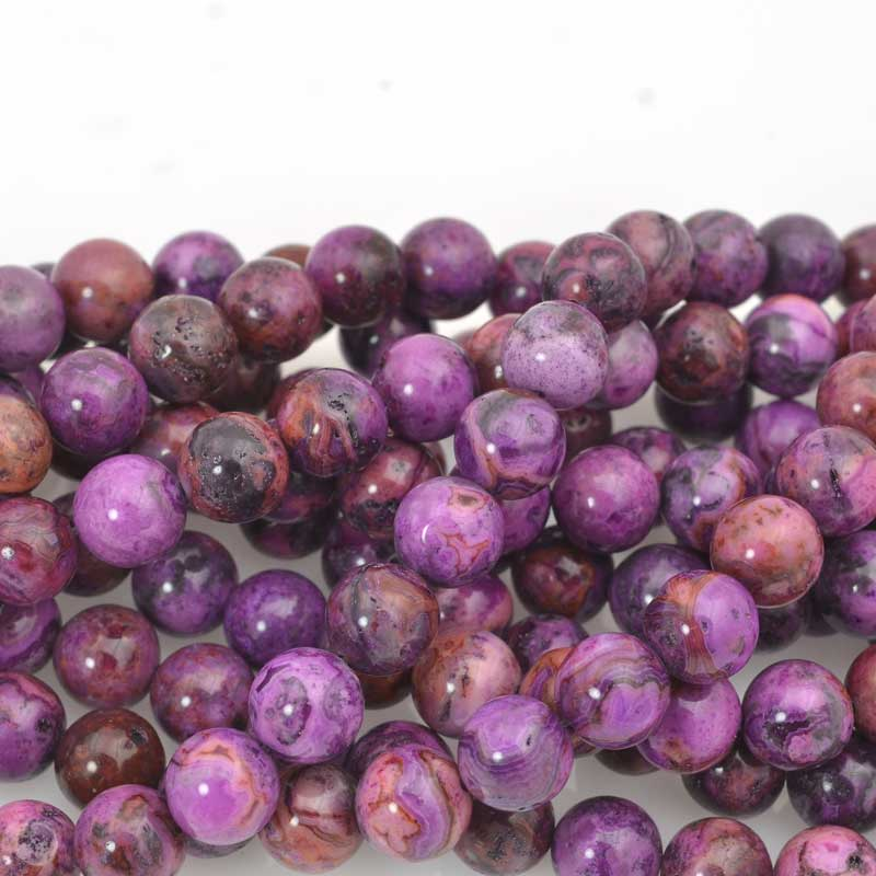 s63621 Stone Beads - 10mm Round - Purple Crazy Lace (strand)