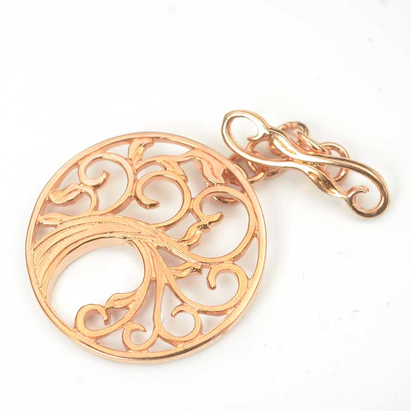 s63634 Finding - Clasp - Toggle -  Tree of Life - Rose Gold Plated