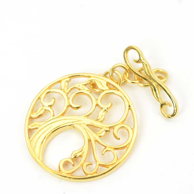 s63635 Finding - Clasp - Toggle -  Tree of Life - Gold Plated