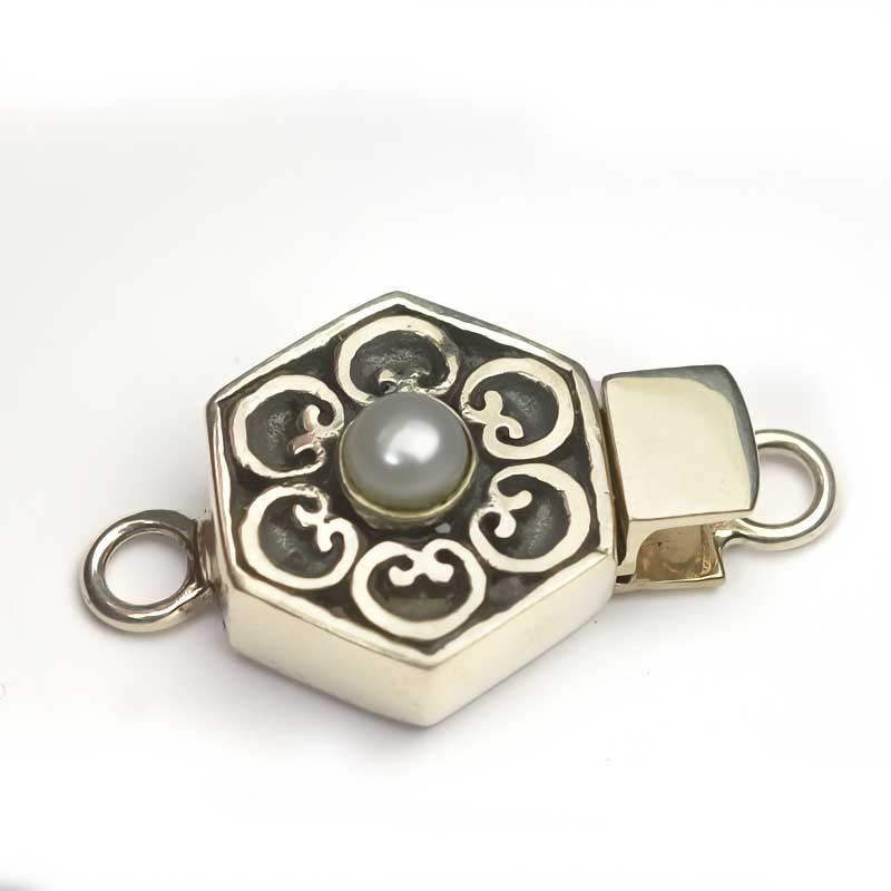 s63651 Finding - Box Clasp w Pearl -  Hexagon - White Pearl - Antiqued Sterling