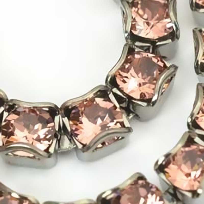 s63691 Rhinestone Chain -  Rhinestone CupChain - Blush Rose - Antique Silver (1 inch)