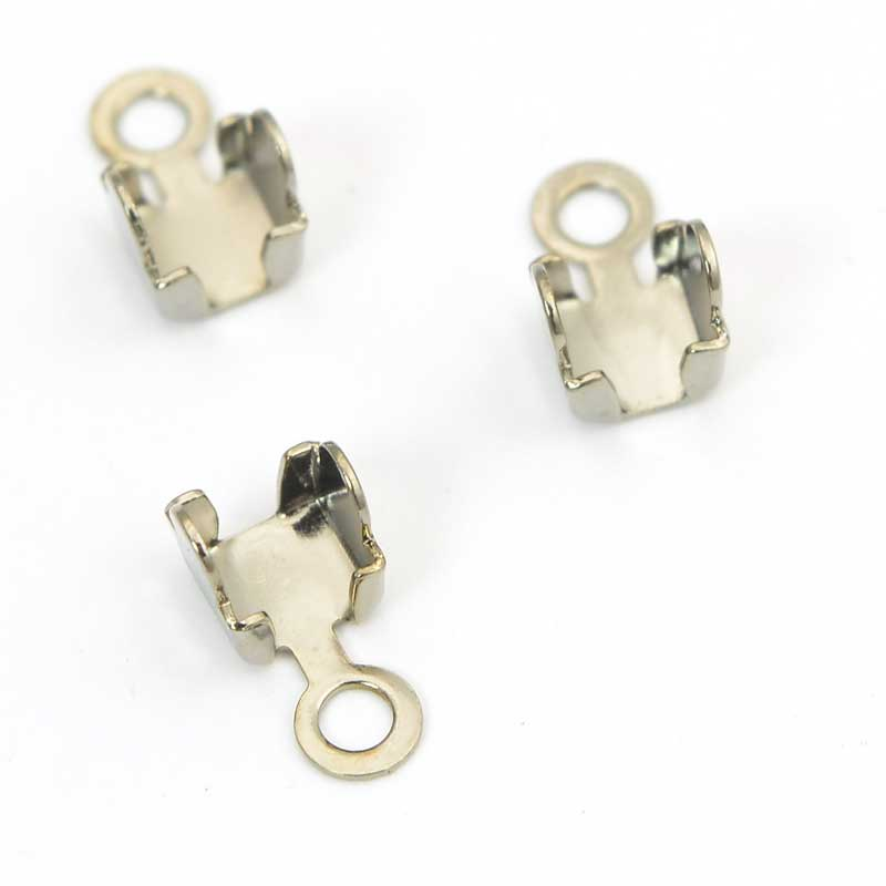s63708 Ends -  Rhinestone CupChain End Connector - Antiqued Silver (6)