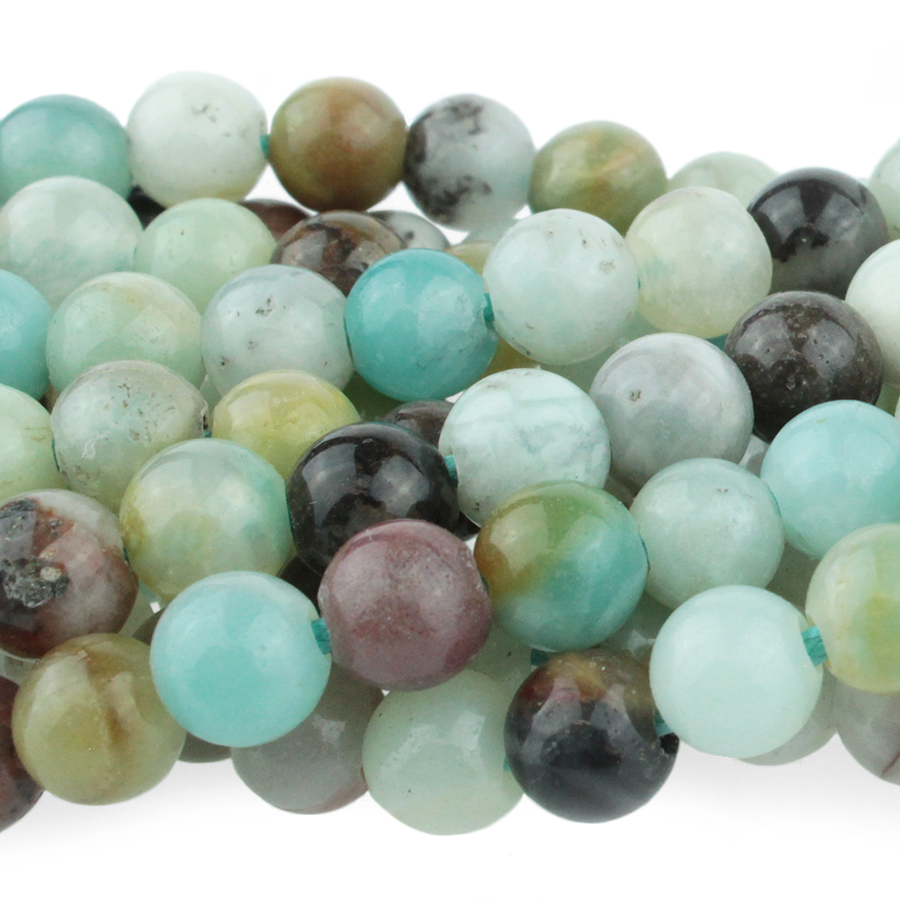 s63723 Stone Beads - 8mm Big Hole Round - Black Gold Amazonite (strand)