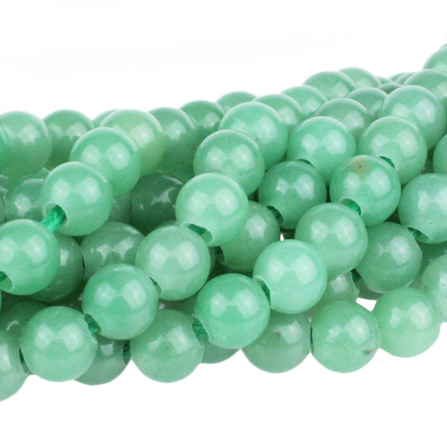 s63724 Stone Beads - 8mm Big Hole Round - Green Aventurine (strand)
