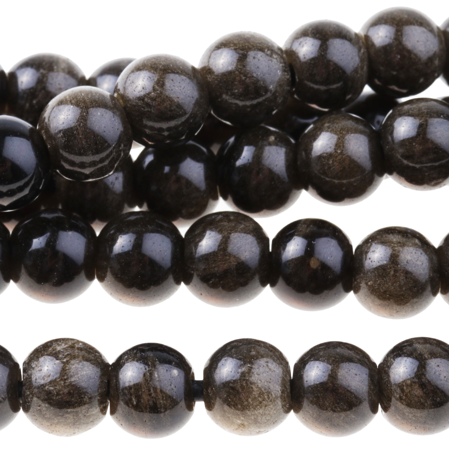 s63725 Stone Beads - 8mm Big Hole Round - Golden Obsidian (strand)