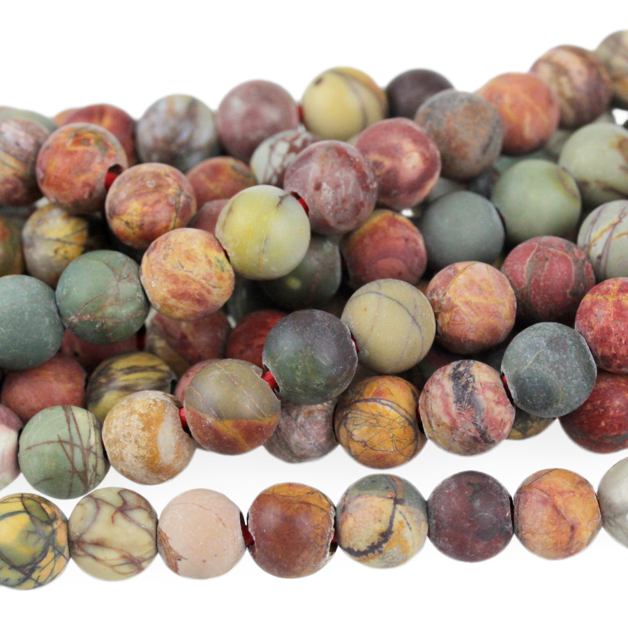 s63726 Stone Beads - 8mm Big Hole Round - Matte Red Creek Jasper (strand)