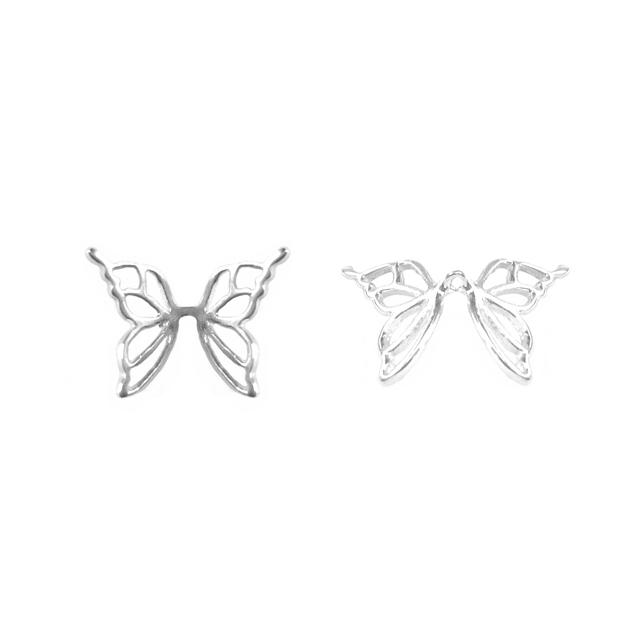 s63926 Metal Bead -  Butterfly Wings - Sterling Silver