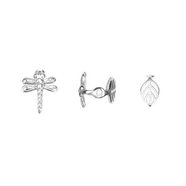 s63940 Finding - Bead Cap -  Dragonfly Leaf - Sterling Silver