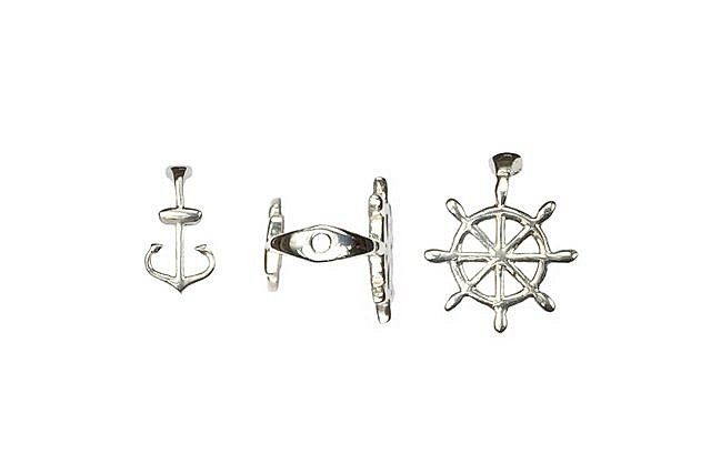s63943 Finding - Bead Cap -  Seafaring - Sterling