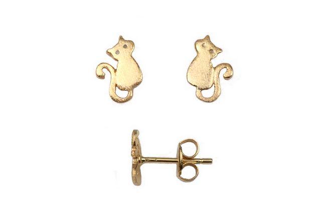 s63950 Findings - Earring - Studs -  Kitty - Vermeil (Pair)