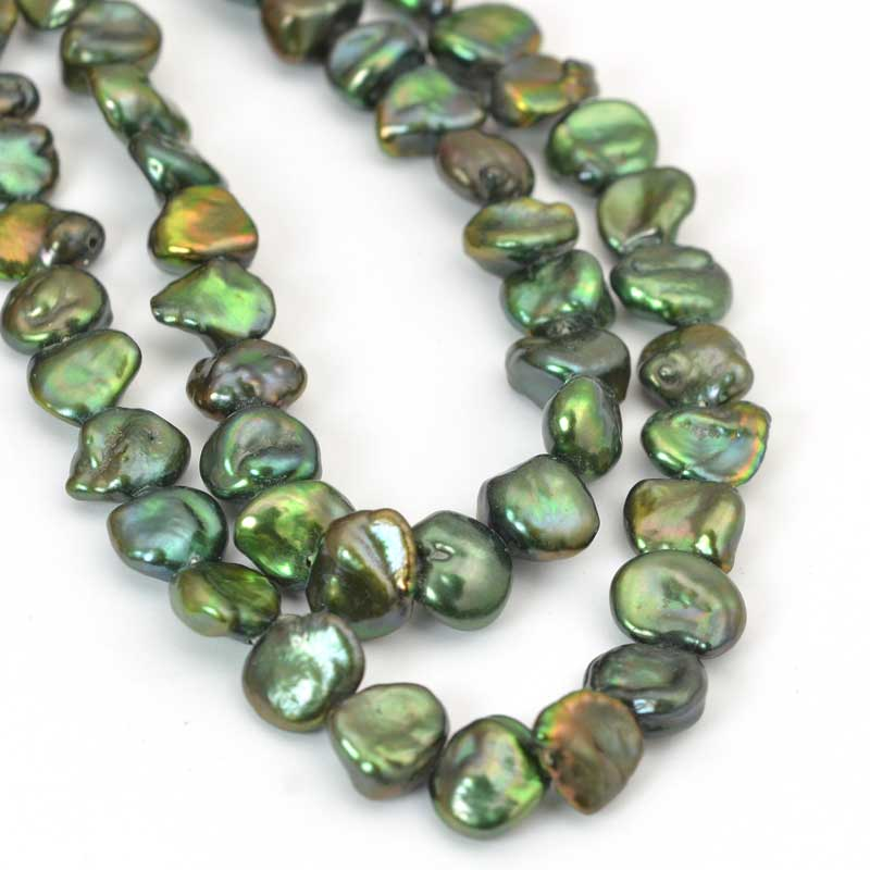 s64023 Freshwater Pearls - 6x8mm Baroque Pearl - Green Gold (strand)