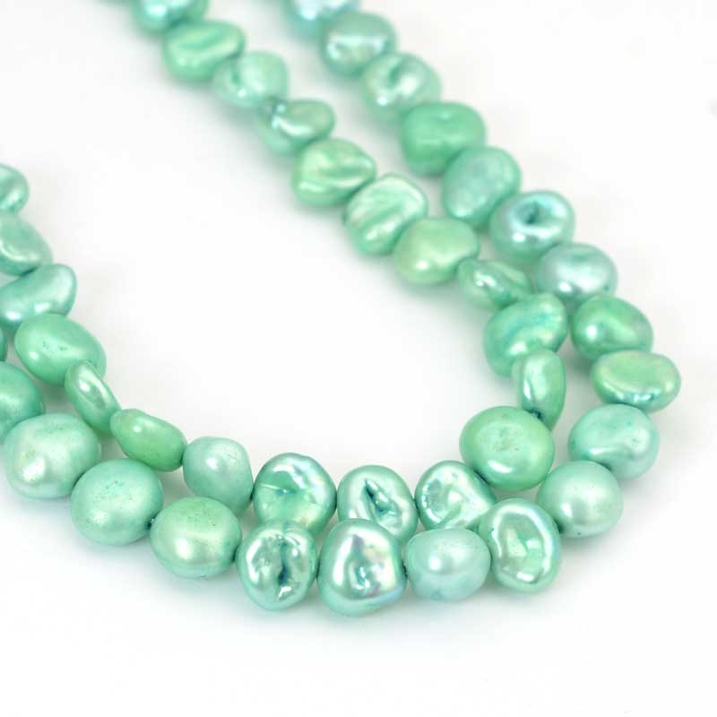 s64032 Freshwater Pearls - 7mm Baroque Pearl - Sea Mint Pearl (strand)