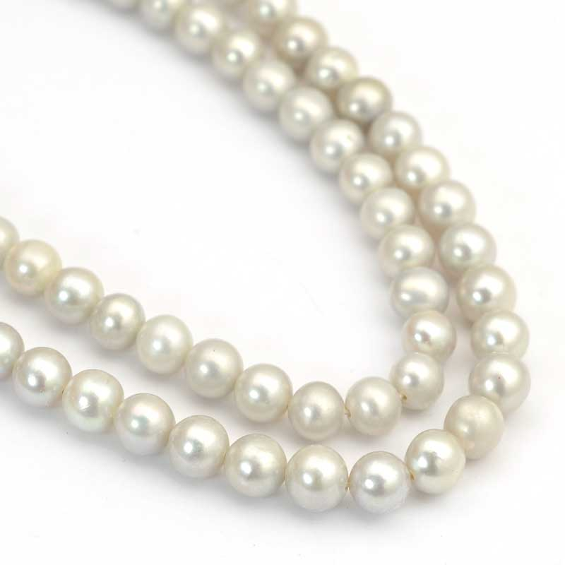 s64040 Freshwater Pearls - 5mm Near Round Pearl - Platinum Pearl (strand)