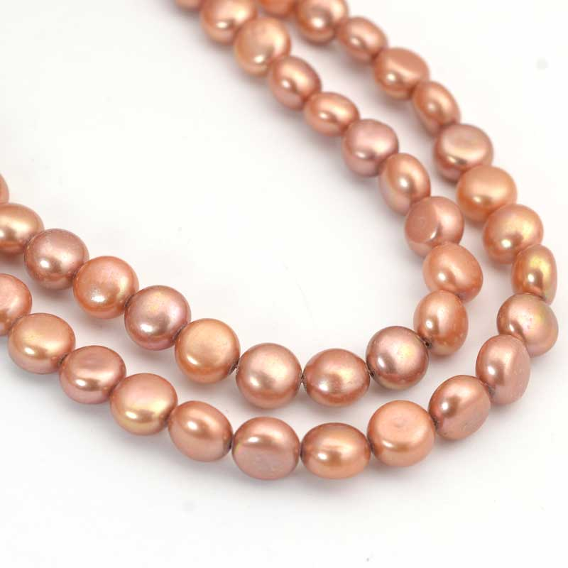 s64042 Freshwater Pearls - 7.5mm Button Pearl - Copper (strand)