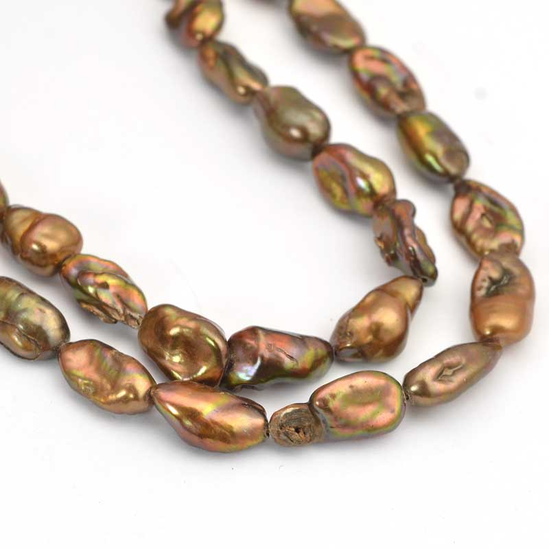 s64043 Freshwater Pearls - 11mm Baroque Pearl - Ancient Gold (strand)