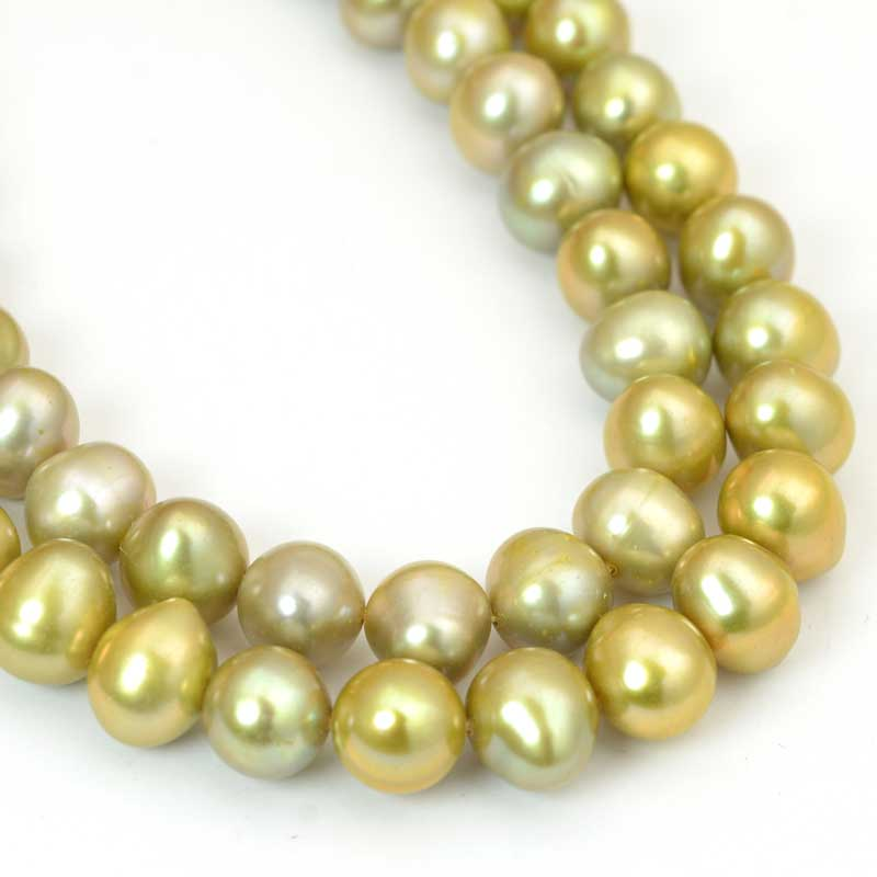s64053 Freshwater Pearls - 9mm Near Round Pearl - Light Gold (strand)