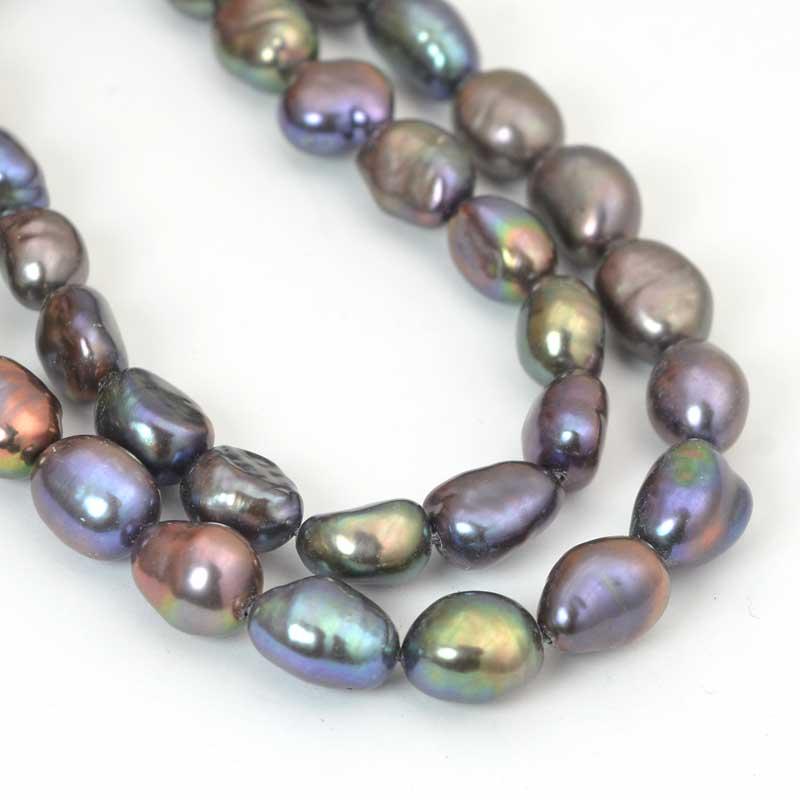 s64055 Freshwater Pearls - 6.5x7.5mm Random Oval Pearls - Peacock (strand)