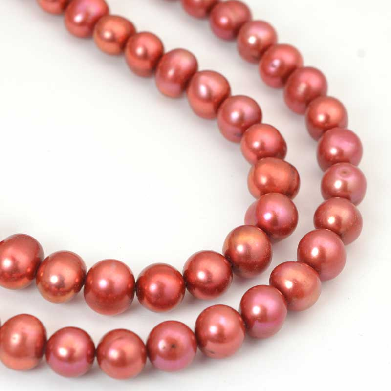 s64056 Freshwater Pearls - 8mm Near Round Pearl - Rich Copper (strand)