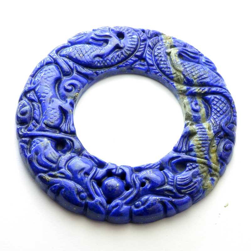 s64064 OOAK Stone Pendant -  Carved Dragon Donut - Lapis Lazuli