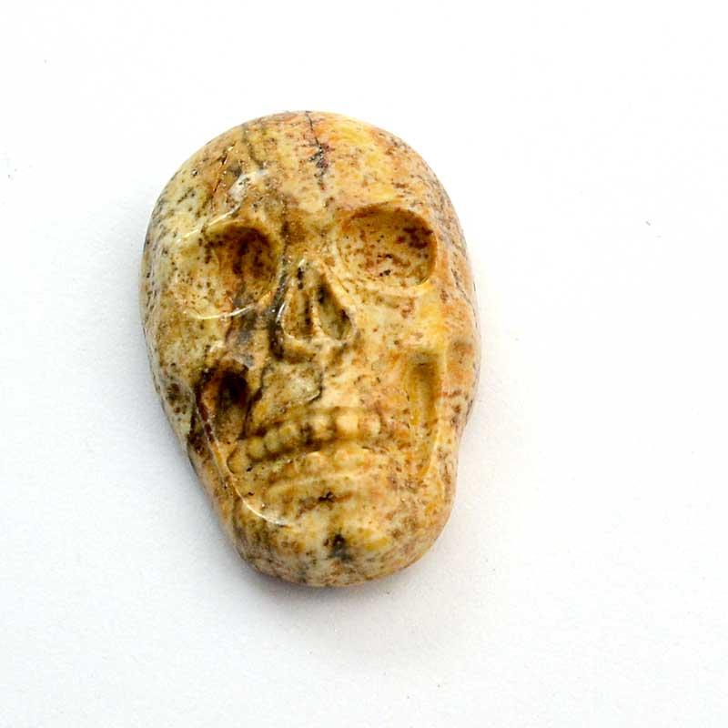 s64079 Stone Cabochon -  Carved Skull Cabochon - Picture Jasper