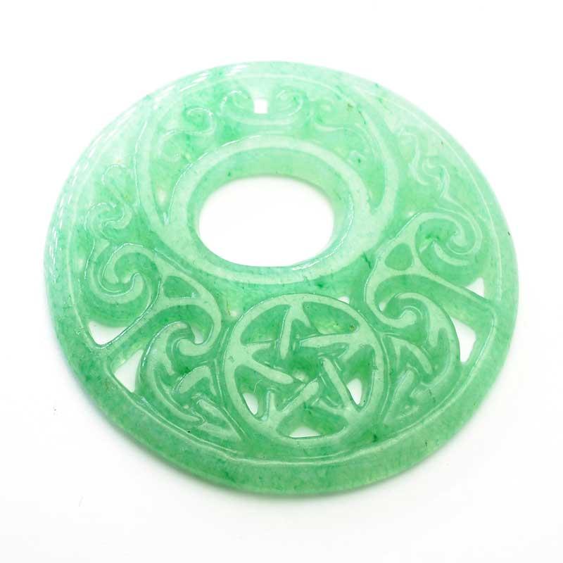 s64081 Stone Pendant -  Round Carved Celtic Star - Aventurine