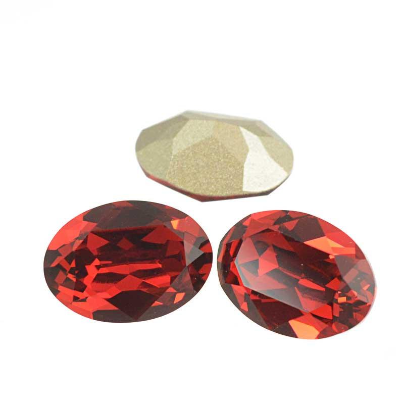 s64111 Swarovski Fancy Stone - 10x14mm Faceted Oval (4120) - Scarlet (3)