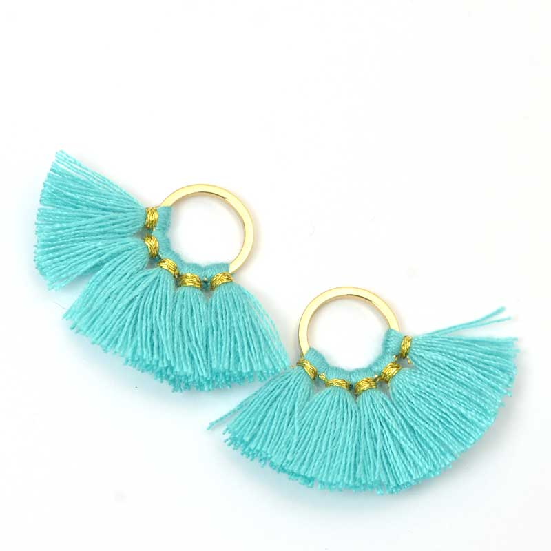 s64116 Components -  Fan Tassels - Light Turquoise (2)